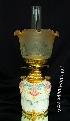 Antique Lamps - Bisto Porcelain Oil Lamp