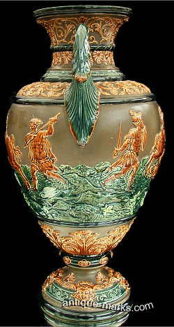 Antiques Collection - Side View of Gerbing & Stephan Majolica Vase