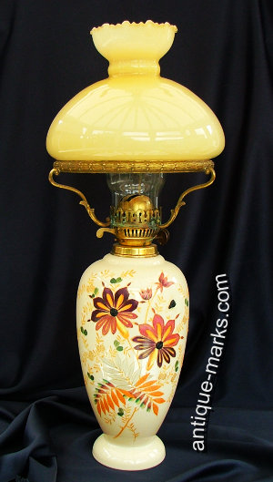 Antique Lamps - Victorian Opaline Glass Oil Lamp