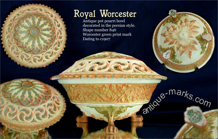 Rare Royal Worcester Pot Pourri Bowl in the Persian Style