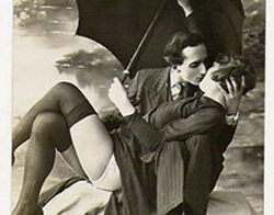 Art Deco Photograph of Couple Kissing