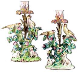 Pair Bow Porcelain Candlesticks