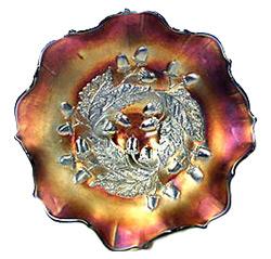 Acorns Carnival Glass Bowl by Millersberg