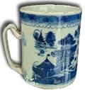 chinese blue and white tankard - underglazed decoration