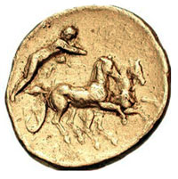 Greek Calabria Tarentum coin with Charioteer