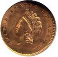 Coin Gold Indian Princess Head Dollar - Obverse