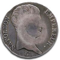 Scotland, Dalzell Farm, 1807, counterstamped five French Francs - Obverse