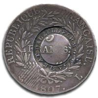 Scotland, Dalzell Farm, 1807, counterstamped five French Francs - Reverse