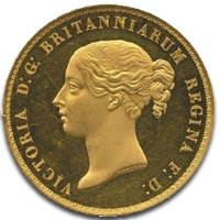 Victoria, five pounds, 1839 Una and the Lion - Obverse