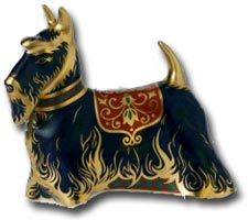 Royal Crown Derby - Scottish Terrier imari paperweight