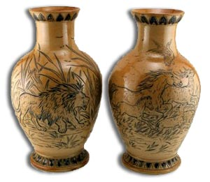 Rare Pair Hannah Barlow Stoneware Vase with Horses and Lions