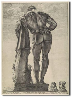 antique marks  glossary - antique engraving farnese hercules by hendrik goltzius 1591