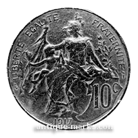 French 10 cent Coin 1917