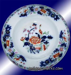 "Antique Copeland Flow Blue Imari Gaudy Welch 10"" Rimmed Bowl"