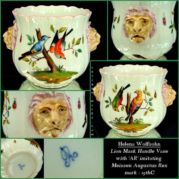 Helena Wolfsohn Vase imitating Meissen Augustus Rex