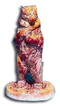 William Moorcroft model of a bear, on hind legs covered in a flambé and yellow glaze