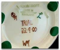 Modern Moorcroft mark Trial Piece
