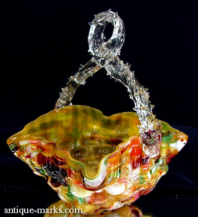 Antiques Collection - Nailsea Spatter Glass Basket