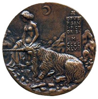 Pisanello medal - Innocence and Unicorn in Moonlit Landscape