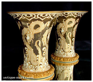 Antiques Collection - Rosenthal Art Deco Gilded Dragon Vases