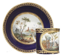 A Sevres Porcelain Cup and Saucer