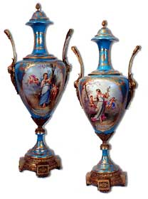 Pair of Empire style Sevres Porcelain Urns