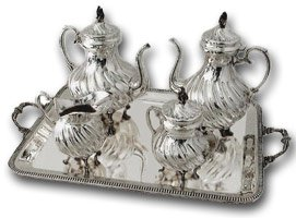 buying antiques - silver teaset