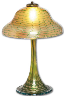 Antique Glass Terms - Tiffany Favrile Glass Lamp - from antique-marks.com