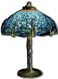 Tiffany Glass - dragonfly lamp c1910