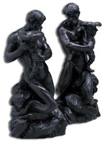 Wedgwood Black Basalte Figural Triton Candlesticks