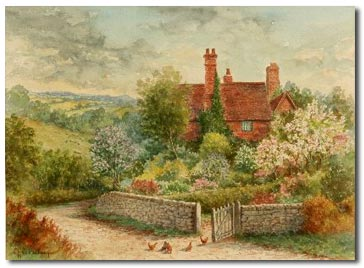 antique watercolour by worcester artist charles baldwyn