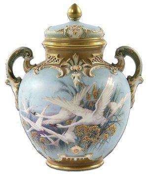 Worcester Chalrles Baldwyn Swan Decorated Pot Pourri