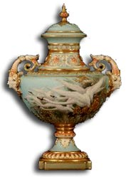 Charles Baldwyn Swan Decorated Twin Handled Vase and Cover