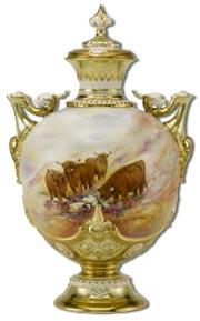 Royal Worcester Covered Vase depicting Highland Cattle