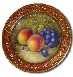 caring for antiques - worcester richard sebright fruit painted plate