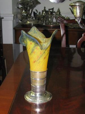 Glass Vase with Silver Holder