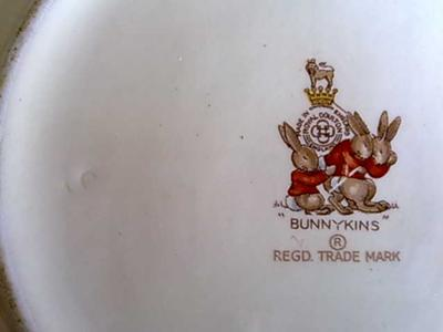Doulton Marks on Bunnykins Bowl with Artist mark on far left