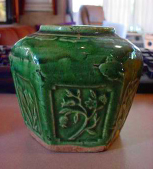Crudely Made Yellow Ware Pottery Jar