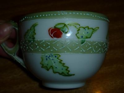 Left-hand side of translucent porcelain teacup