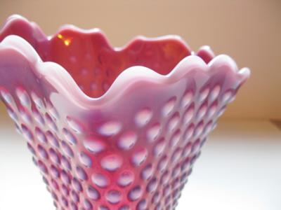 Cranberry Glass Vase Close Up