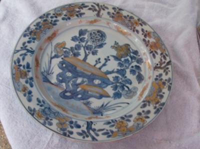 Close up of decoration on blue & white porcelain