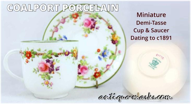 Floral decoration on a Coalport Porcelain Cup and Saucer c1891
