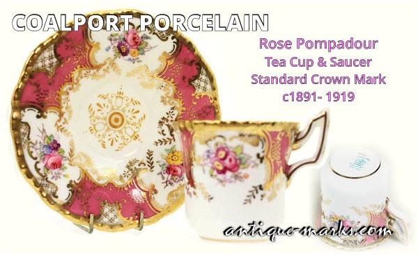 Coalport Porcelain - Rose Pompadour Cup & Saucer c1891 to 1919