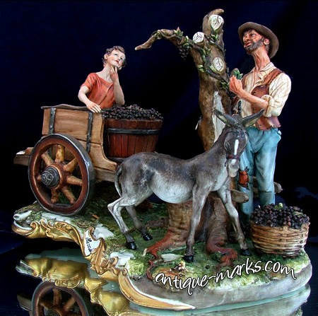 Capodimonte Porcelain figure group entitled La Vendemmia